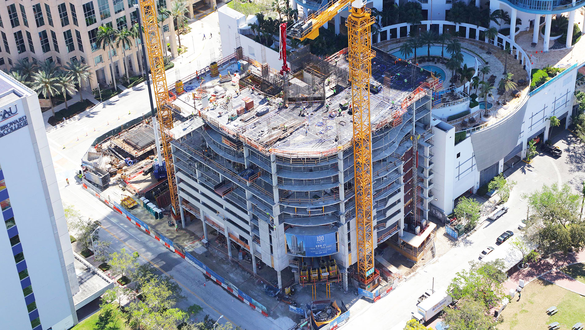 March Construction 2018 100 Las Olas Aerial Photo