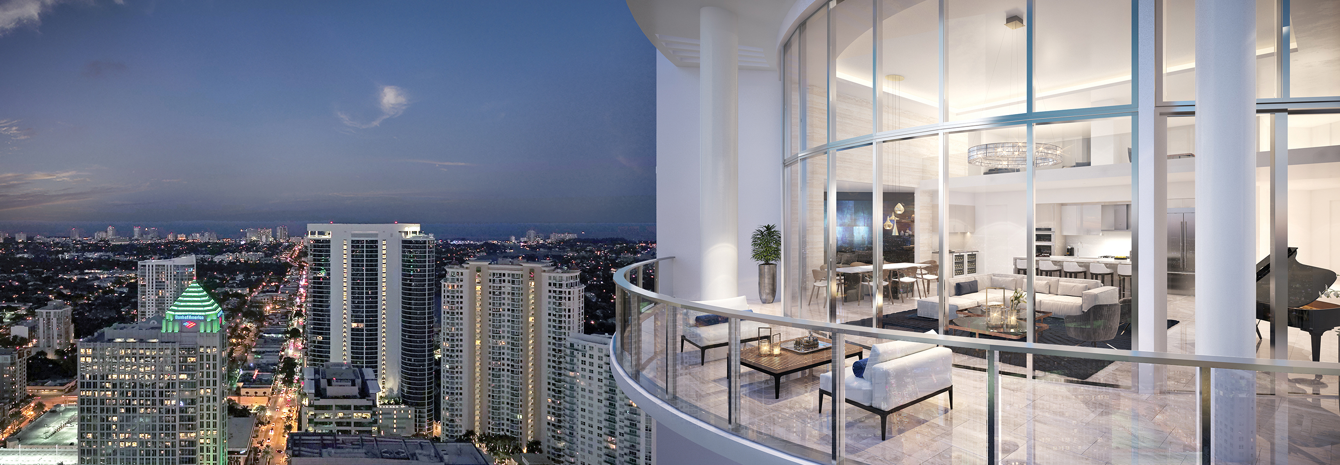 100 Las Olas Penthouse 4603 Terrace Night Rendering