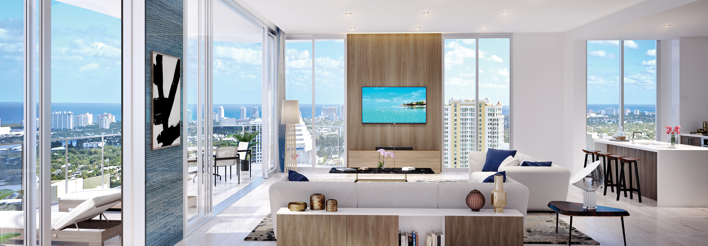100 Las Olas Estate Penthouse Interior Great Room Day Rendering