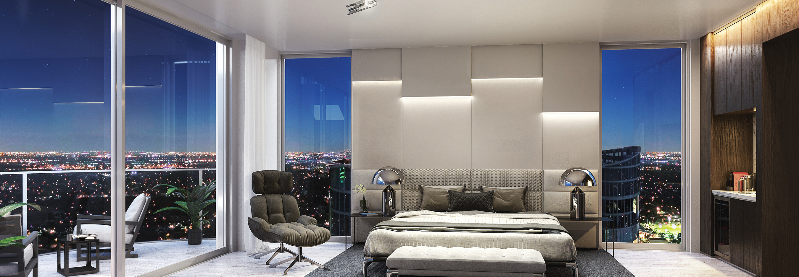 100 Las Olas Estate Penthouse Interior Master Suite Night Rendering