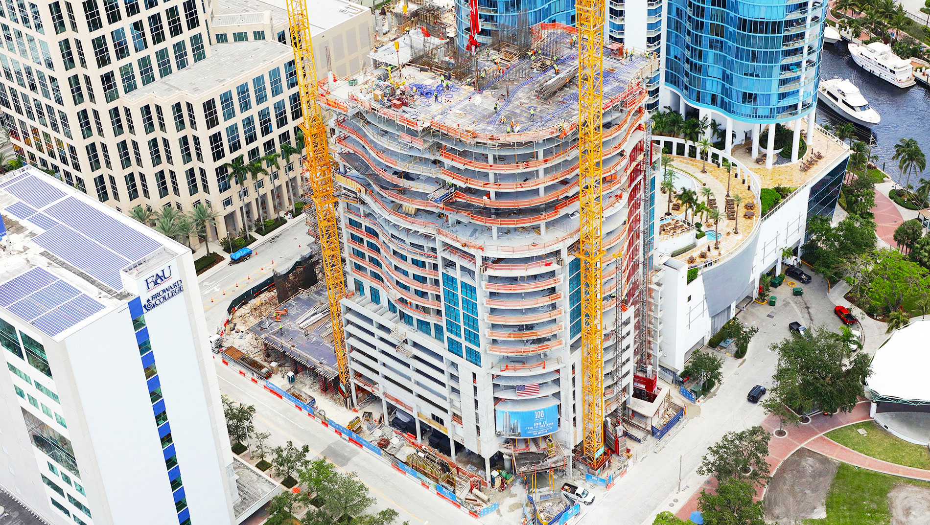 100 Las Olas June 2018 Construction Update Aerial