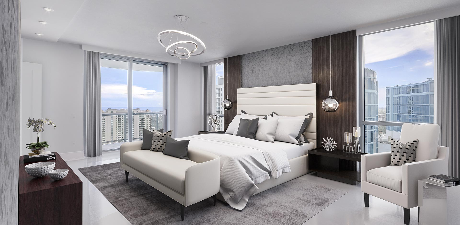 virtually staged master bed room at 100 las olas