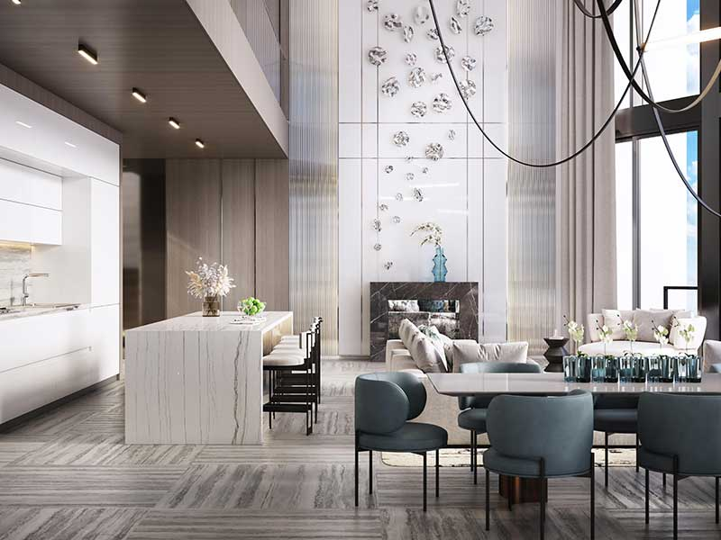 Las Olas Penthouse Great Room with fire place